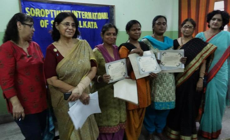 Ladies sponsored for a 6-month course receive certificates
