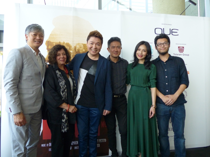 Dick Lee, Meira Chand, Sebastian Tan, Adrian Pang, Sharon Au and Benjamin Chow at The LKY Musical Press Conference (13 Apr 2015)