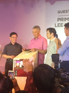 Prime Minister Lee, PM Lee with Minster Heng and Minister Wong at the SG 50 Appreciation Dinner