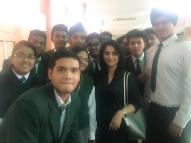 With students (India), after a talk on self image, success and issues faced by the youth